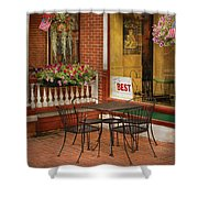 Cafe - The Best Ice Cream In Lancaster Shower Curtain by Mike Savad