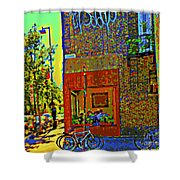 Cafe Window Corner Rue Fabre Near The Bicycle Stand Art Of Montreal Summer Street Scene  Shower Curtain