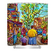 Cafes In Springtime Shower Curtain