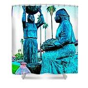 Cahuilla Women Sculpture In Palm Springs-california  Shower Curtain