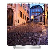 Calcada Da Gloria Street At Dusk In Lisbon Shower Curtain