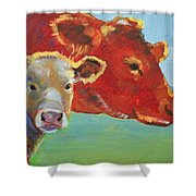 Calf And Cow Painting Shower Curtain