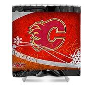 Calgary Flames Christmas Shower Curtain
