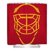 Calgary Flames Goalie Mask Shower Curtain