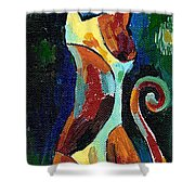 Calico Cat Abstract In Moonlight Shower Curtain