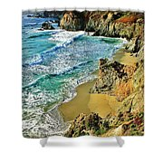 Californa Shore Shower Curtain by Benjamin Yeager