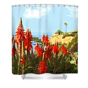 California Coastline With Red Hot Poker Plants Shower Curtain