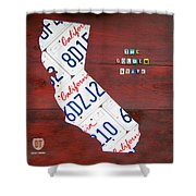 California License Plate Map Shower Curtain