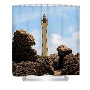 California Lighthouse Aruba Shower Curtain