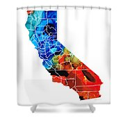 California - Map Counties By Sharon Cummings Shower Curtain