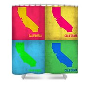 California Pop Art Map 1 Shower Curtain by Naxart Studio