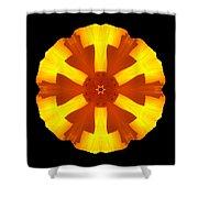 California Poppy Flower Mandala Shower Curtain by David J Bookbinder