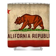 California State Flag Art On Worn Canvas Shower Curtain by Design Turnpike