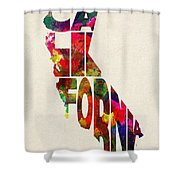 California Typographic Watercolor Map Shower Curtain