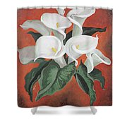Calla Lilies On A Red Background Shower Curtain