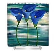 Calla Trio- Calla Lily Paintings Shower Curtain
