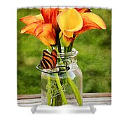 Calla's And The Butterfly Shower Curtain
