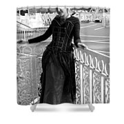 Calley In The Corner Black And White Shower Curtain