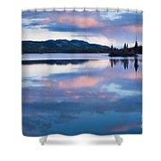 Calm Twin Lakes At Sunset Yukon Territory Canada Shower Curtain