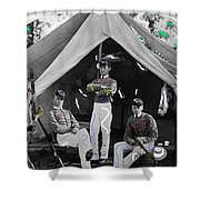 Calvary Troopers On Bivouac Tent Date Unknown Image Restored Color Added 2008  Shower Curtain