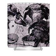 Calves, Damp, Newborn, 1978 Pen & Ink On Paper Shower Curtain