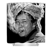 Cambodian Lady Smoker Shower Curtain