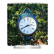 Cambria Square Time Clock Shower Curtain