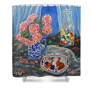 Camellias With Glass Beads Shower Curtain