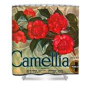 Camellia Crate Label Shower Curtain