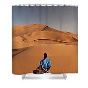 Camels In Sahara Desert. Erg Chebbi Shower Curtain