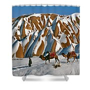 Camels On The Snow Shower Curtain