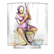Cameroon Woman Grinding Plantain Bananas Shower Curtain