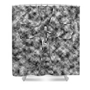 Camouflage Gray Black And White Cross Shower Curtain
