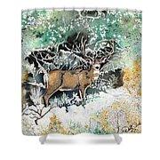 Camouflaged Mule Deer Buck In Winter Shower Curtain