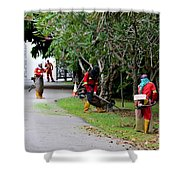 Camouflaged Leaf Blowers Working In Singapore Park Shower Curtain