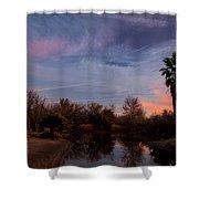 Camp Davis River Sunset Shower Curtain