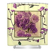 Campanula Framed With Pressed Petals Shower Curtain