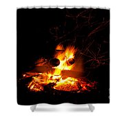 Campfire As A Symbol Of Warmth And Life On Black Shower Curtain