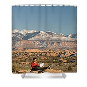 Camping With Laptop Shower Curtain