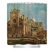 Campo Dei Santi Giovanni E Paolo And The Scuola Grande Di San Marco, Venice Oil On Canvas Shower Curtain