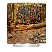 Campsite By The Box Car Shower Curtain