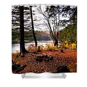 Campsite On Cary Lake Shower Curtain