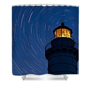 Cana Island Lighthouse Solstice Shower Curtain