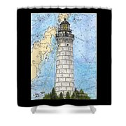 Cana Island Lighthouse Wi Nautical Chart Map Art Shower Curtain