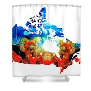 Canada - Canadian Map By Sharon Cummings Shower Curtain
