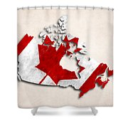 Canada Map Art With Flag Design Shower Curtain
