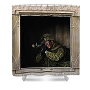 Canadian Army Soldier Conducts Military Shower Curtain by Stocktrek Images