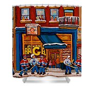 Canadian  Artists Paint Hockey And Montreal Streetscenes Over 500 Prints Available  Shower Curtain