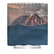 Canadian Coastal Mountains Sunset Shower Curtain