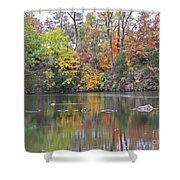 Canadian Goose Swimming Through The Autumn Reflections On The Pond Shower Curtain